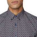 BEN SHERMAN Men's Geo Op Art Floral Mod Shirt (DN)