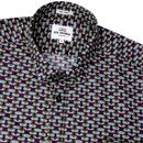 BEN SHERMAN Mens Retro Sixties Geo Owl Print Shirt