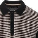 BEN SHERMAN 60s Mod Geo Lattice Knit Polo Top (B)