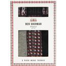 ben sherman mens 3 pack trunks grey geo print black
