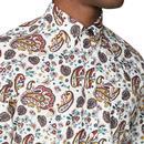 BEN SHERMAN 60s Mod Psychedelic Paisley Shirt ECRU