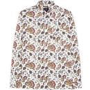 ben sherman mens multicoloured paisley print long sleeve shirt ecru