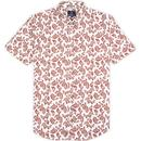 ben sherman mens paisley print short sleeve shirt ecru
