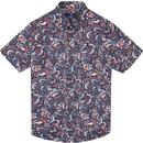ben sherman mens psychedelic print short sleeve shirt navy pink