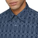 BEN SHERMAN Retro 60s Op Art Surf Print Shirt NAVY