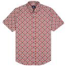 ben sherman mens retro geo print short sleeve shirt red navy