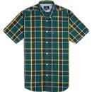 ben sherman mens textured check short sleeve shirt trekking green