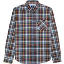 bens sherman mens textured check long sleeve shirt dark navy