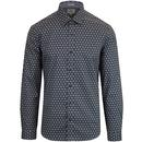 ben sherman retro wallpaper shirt dusky blue