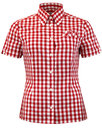 brutus trimfit womens retro mod red gingham shirt