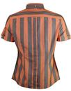 BRUTUS TRIMFIT Womens Mod Bold Stripe Shirt ORANGE