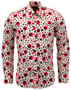 CHENASKI RETRO MOD 70S DOTS SPOTS SHIRT RED
