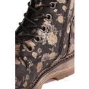 Annetta Womens Retro 60s Floral Boots (Black)