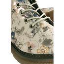 Annetta Womens Retro 60s Floral Boots (Light Grey)