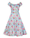 Dolores COLLECTIF 50s Peony Floral Dress in Blue
