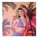 collectif lobster stripe ruched bikini top navy/white