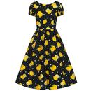 Collectif Demira Retro 50s Lemon Print Swing Dress in Black and Yellow