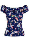 Dolores COLLECTIF 50s Vintage Charming Birds Top