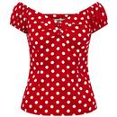 Collectif Dolores Retro 50s Polka Dot Top in Red