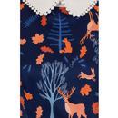 Peta COLLECTIF Forest Friends 60s Swing Dress Blue
