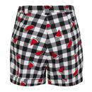 Jojo COLLECTIF Watermelon Print Gingham Shorts B/W