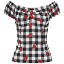 Collectif Retro 50s Dolores Top Black Gingham Watermelon