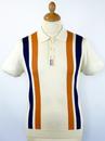 DAVID WATTS Retro Mod Racing Stripe Knit Polo (C)