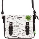disaster design the beatles graffiti badge mini cross body shoulder bag white black green