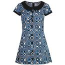 Madcap England Dollierocker Op Art 1960s Mod Peter Pan Collar Psychedelic Dress in Blue/Black