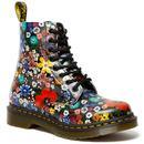 dr martens womens 1460 pascal floral wanderlust backhand boots multicolour