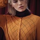 Tess EMILY AND FIN Argyle Pointelle Cardigan OCHRE