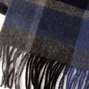 FAILSWORTH Retro Lambswool Check Scarf - Blue