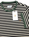 Ally FARAH Men's Retro Mod Striped Crew Tee NAVY