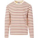 farah vintage mens barrio stripe long sleeve crew neck top cream