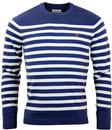 FARAH STANFORD RETRO MOD BRETON STRIPE JUMPER BLUE