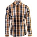 Farah Brewer Men's 1960s Mod Tartan Check Button Down Shirt in Gold
