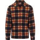farah vintage mens drummond check long sleeve fleece overshirt orange
