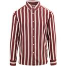farah vintage mens evison retro mod casual fit bold stripe long sleeve shirt burnt red white