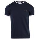 Farah Groves Men's Retro Crew Neck Ringer T-shirt in True Navy