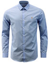 farah handford 60s mod bone collar shirt pale blue