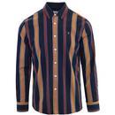 Farah Laird Retro Mod Bold Stripe Oxford Shirt in True Navy