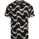 farah mens northern soul wavy print crew neck tshirt true navy