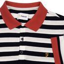 Witton FARAH Retro 60s Mod Pique Striped Polo (TN)