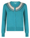 Fever retro vintage embroidered Cuba Cardigan Grn