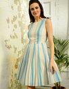 Fever Retro 60s Flared Stripe Prom Dress