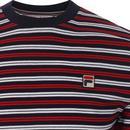 Hugh FILA VINTAGE 70s Retro Multi Stripe Tee (P/W)