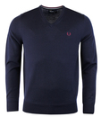 fred perry merino v neck sweater dark carbon
