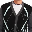 FRED PERRY Men's Abstract Argyle Knitted Cardigan