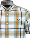 FRED PERRY M1539 959 BOLD CHECK SHIRT SILVER BLUE