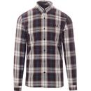 fred perry bold tartan check shirt mahogany